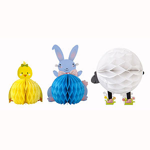 Easter Animal Honeycomb Decoration Set - easter home decorations