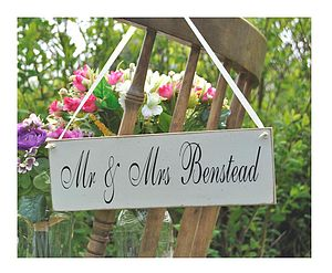 Wedding Sign Mr And Mrs Bride Vintage - art & decorations