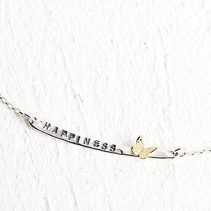 Long Tag Necklace With Gold Butterfly