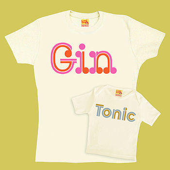 Gin And Tonic T Shirt Set For Mum And Son Or Daughter
