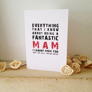 Being A Fantastic Mam Card - mother's day cards