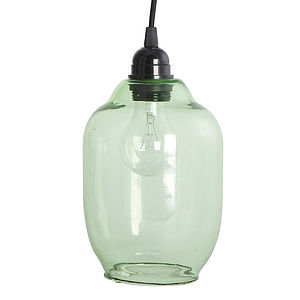 Green Glass Lamp Shade - bedroom