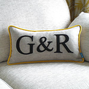 Piped Edge Couple's Initial Cushion - embroidered & beaded cushions