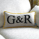 Yellow Edged Colour Flash Couples Initial Cushion