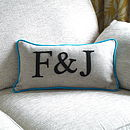 Turquiose Edged Colour Flash Couples Initials Cushion