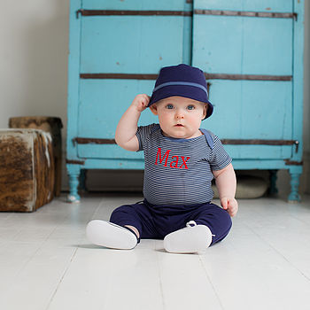 Personalised Bodysuit, Trousers And Hat