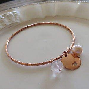 Copper And Rose Quartz Bangle - bracelets & bangles
