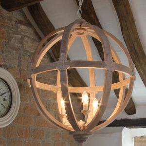 Large Round Wooden Orb Chandelier - lighting