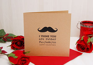 Moustache Personalised Valentines Card - seasonal cards