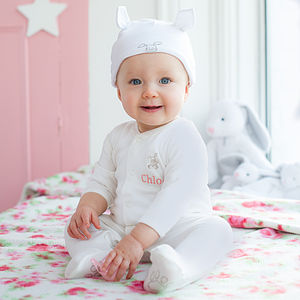 Personalised Bunny Sleepsuit And Hat Set - clothing