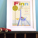 Personalised George The Giraffe Boys Print