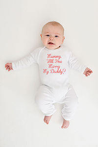 Valentines Will You Marry Me Babygrow - clothing