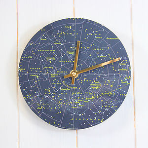 Stars And Constellations Map Clock - children's room