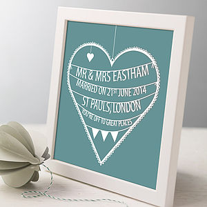 Personalised Wedding Heart Print - top 50 personalised prints