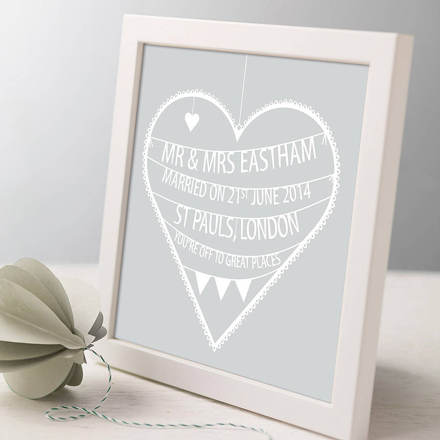 Personalised Wedding Heart Print By Modo Creative