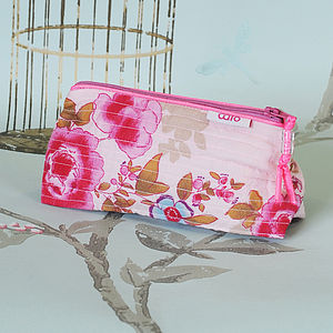 Mini Make Up In Pink Or Blue Rose Floral Print - bags & purses