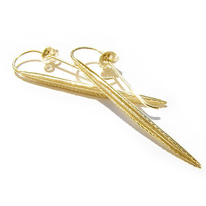 Gold Vermeil Long Leaf Earrings - earrings