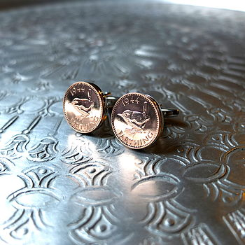 Handmade 70th 80th Birthday Farthing Cufflinks