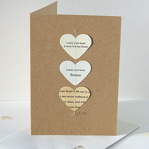I Carry Your Heart Personalised Card - anniversary cards