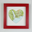 Mini Bespoke Map Heart   Red Frame