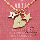 APRIL birthstone heart charm - GOLD & CRYSTAL (clear crystal)