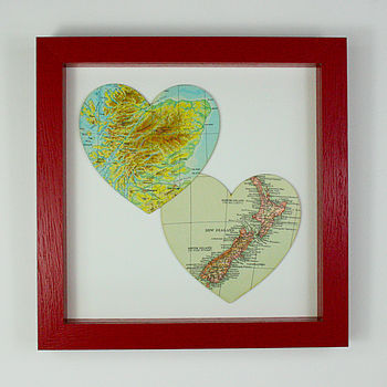 Bespoke Map Heart Duo   Red Frame