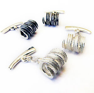 Silver Leafy Cufflinks - men's accessories