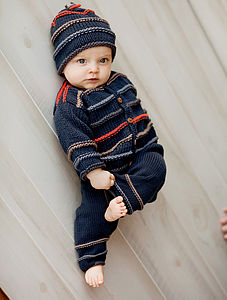 Hand Knitted Indigo Cardigan For Boys - babies' cardigans