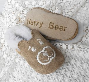 Personalised Sheepskin Teddy Baby Booties - clothing
