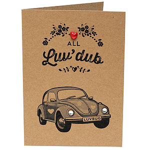 Vw Dub Beetle Valentines Day Card With Diamantes - shop by occasion