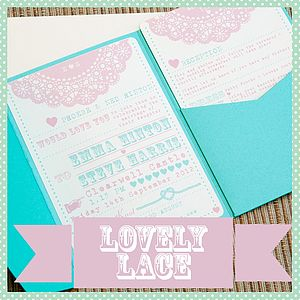 Pocketfold Wedding Invitation 'Lovely Lace'