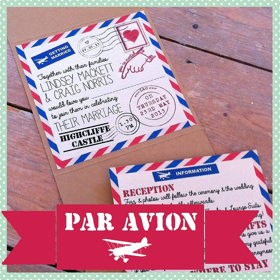 pocketfold retro airmail wedding invitation by lovely jubbly designs ...