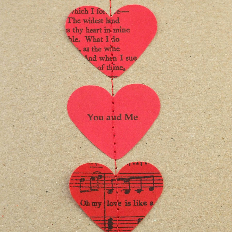 red poetry and music heart card by made in words ...
