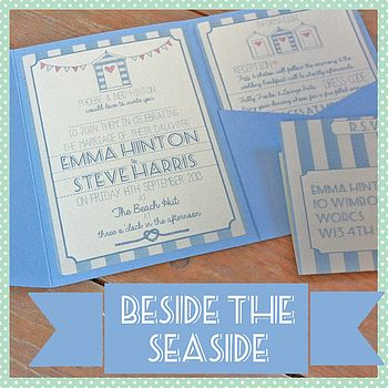 Pocketfold Beach Hut Wedding Invitation