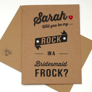 My Rock In A Frock Bridesmaid Card - engagement cards