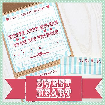 Pocketfold Wedding Invitation Heart Funfair