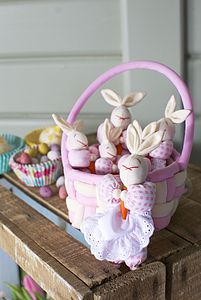 Basket With Rabbit Family - soft toys & dolls