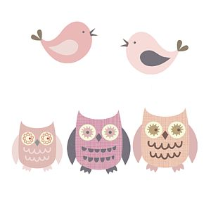 Owls And Birds Fabric Wall Stickers - wall stickers