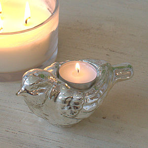 Silver Bird Tealight Holder - candles & candlesticks