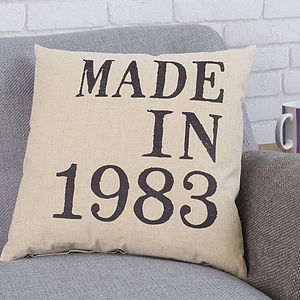 Personalised 'Made In' Cushion - 50th birthday gifts