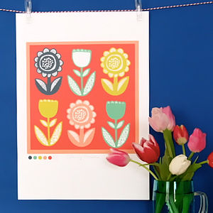 Lollipop Flower Print - posters & prints