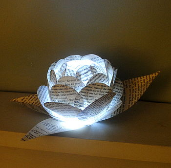 Book Pages Paper Flower Light Centrepiece LED Light