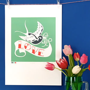 Swallow Tattoo Love Print