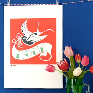 Swallow Tattoo Home Print - valentine's gifts for the home