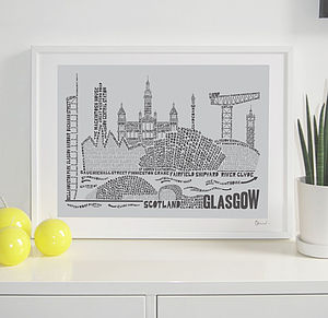 Glasgow Skyline Typography Print - soft colour pop prints