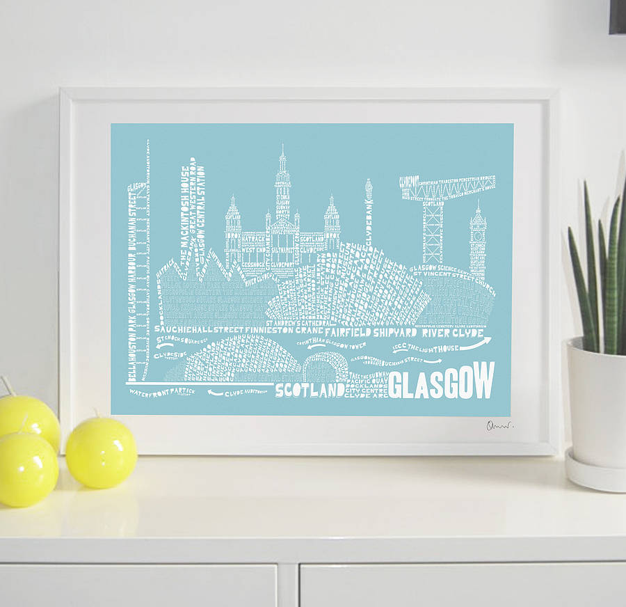 Glasgow skyline typography print