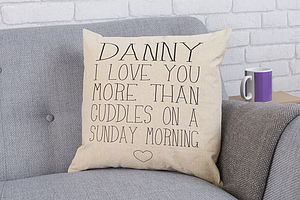 Personalised 'More Than' Cushion - bedroom