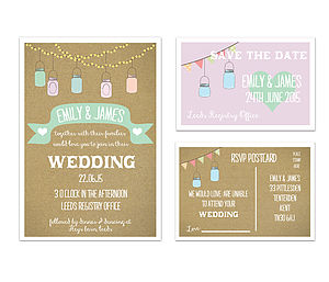 'Jars' Wedding Stationery Range - place cards