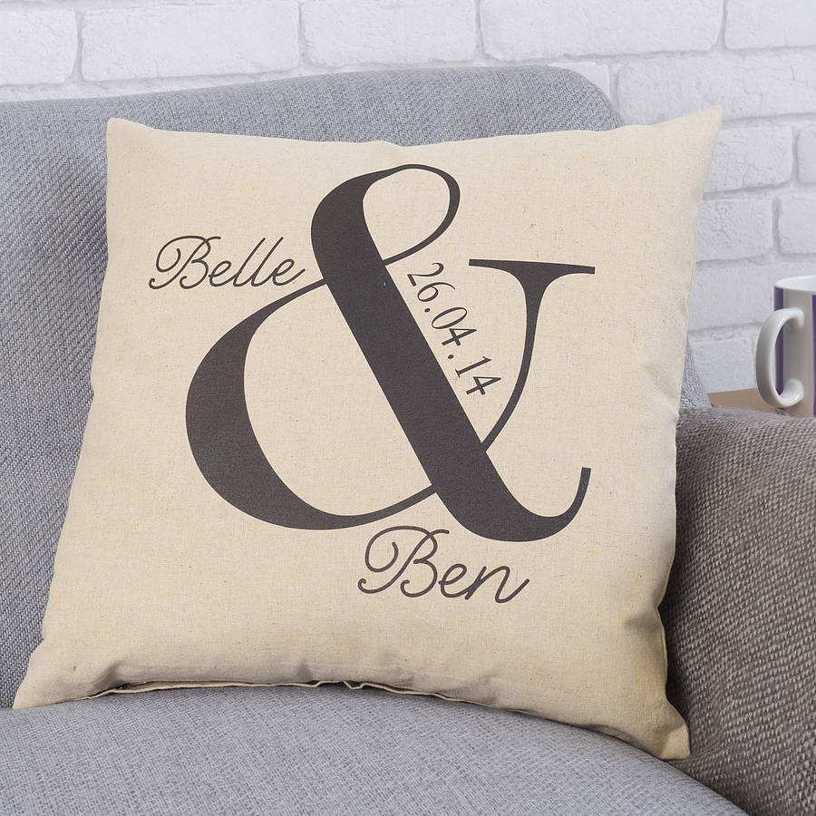 Cool Wedding Gift Ideas Uk : personalised ampersand wedding cushion by tillyanna ...