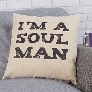 'I'm A Soul Man' Linen Cushion - bedroom
